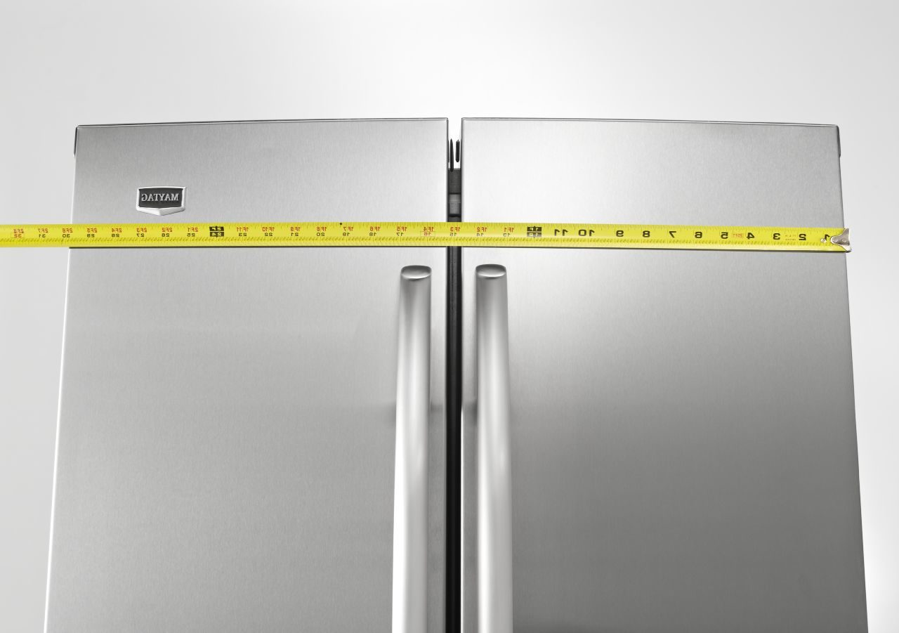 refrigerator and measuring tape