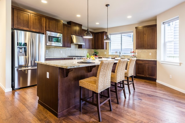 kitchen with french door fridge