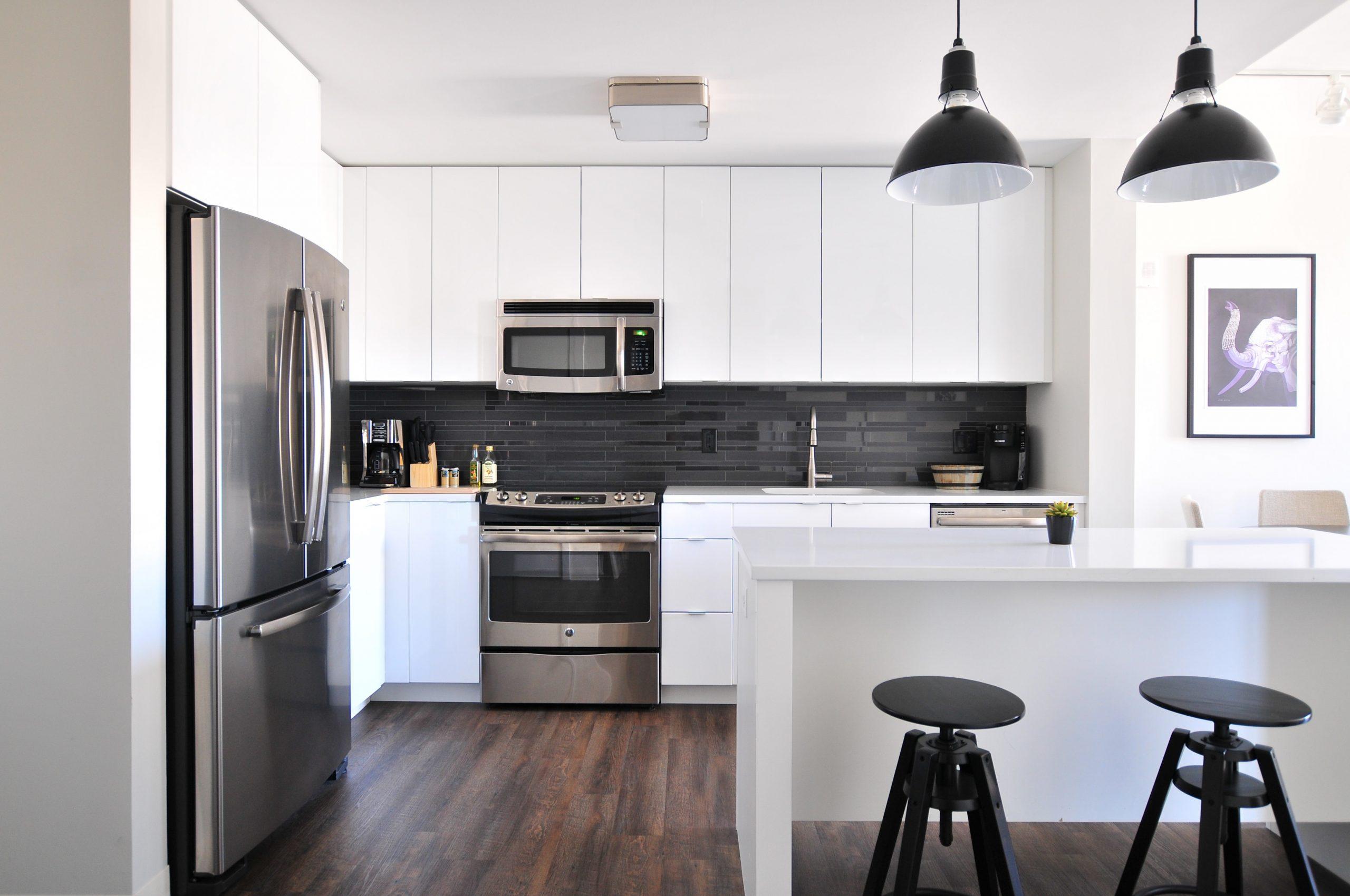 silver fridge in a kitchen